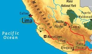 Route kaart met Bolivia